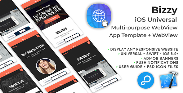 Bizzy | iOS Universal Multi-purpose WebView App + Website - CodeCanyon Item for Sale