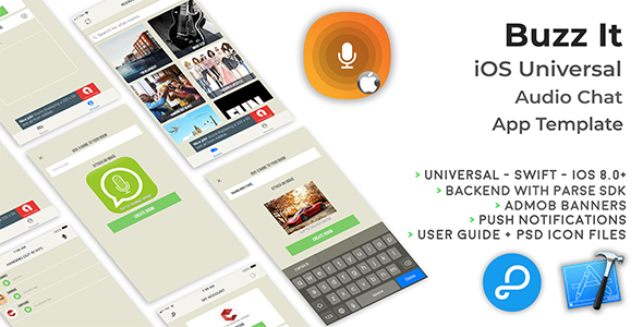 Buzz It | iOS Universal Public Audio Chat App (Swift) - CodeCanyon Item for Sale