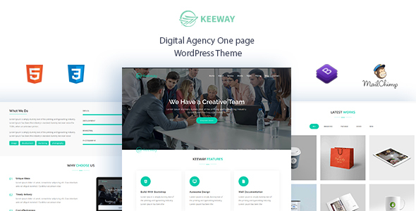Keeway - Digital Agency One page WordPress Theme - Technology WordPress