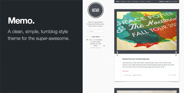 Memo: Tumblog Style WordPress Theme - Personal Blog / Magazine