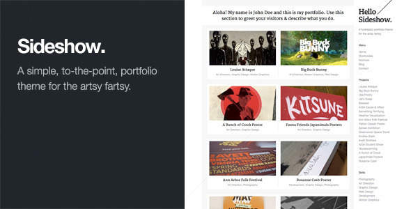 Sideshow: Funktastic Portfolio WordPress Theme - Portfolio Creative