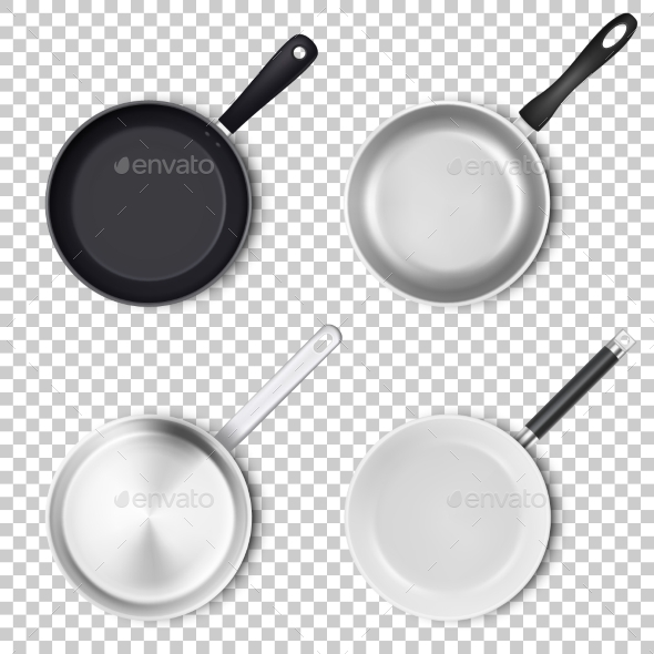 Vector Realistic Empty Pans - Man-made Objects Objects