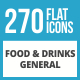 270 Food & Drinks General Flat Long Shadow Icons