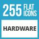 255 Hardware Flat Long Shadow Icons