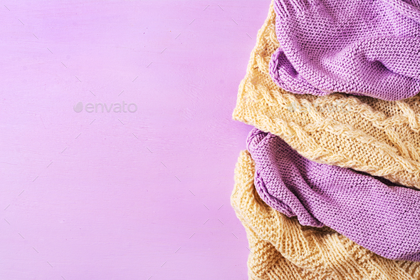 Violet white wool knitting texture.  Sweater textile background. Top view. Flat lay - Stock Photo - Images