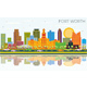 Fort Worth Texas City Skyline with Color Buildings
