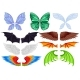 Flat Vector Set of Colorful Wings