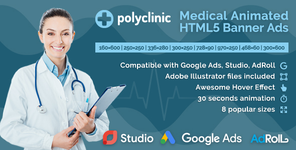 Polyclinic - Medical Services Animated HTML5 Banner Ads (GWD) - CodeCanyon Item for Sale