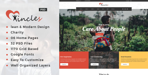 Incles : Charity PSD Template - Charity Nonprofit