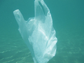 Plastic bag floating into the sea. Polluted enviromental. Recycle garbage          - PhotoDune Item for Sale