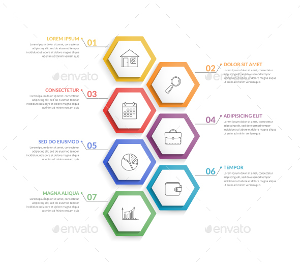 Infographic Template with 7 Hexagons - Infographics