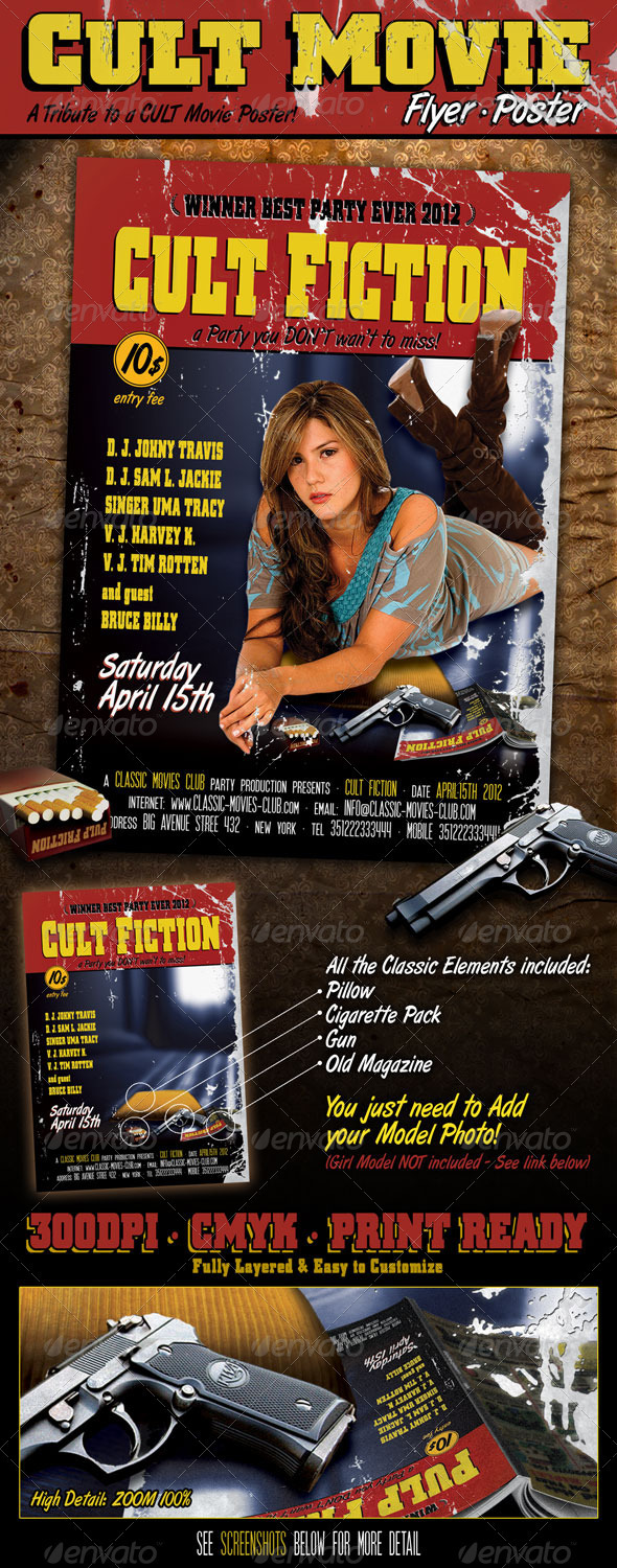 Cult Movie Flyer Poster - Flyers Print Templates