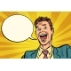 Pop Art Joyful Businessman Comic Bubble