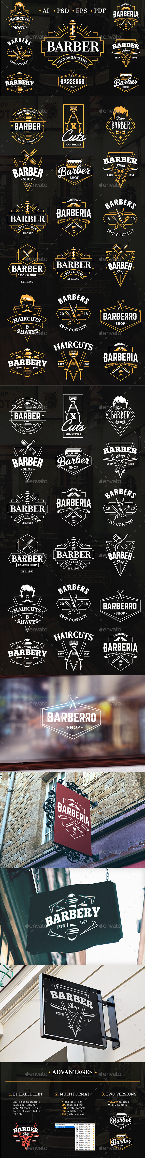 Barber Emblems | Logo Templates - Services Commercial / Shopping