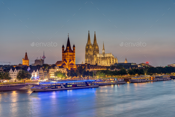 The skyline of Cologne with the river Rhine and the cathedral - Stock Photo - Images