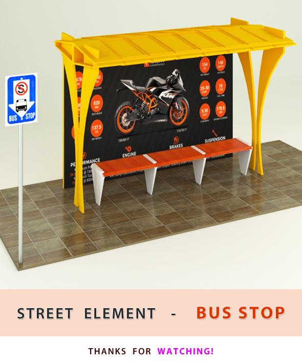 Bus Stop ( street element ) - 3DOcean Item for Sale