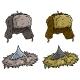 Cartoon Winter Fur Hat or Cap Vector Icon Set