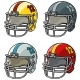 Cartoon American Football Helmet Vector Icon Set