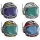 Cartoon Astronaut Space Helmet Vector Icon Set