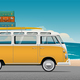 Old School Camper Mini Van With Surf Board - GraphicRiver Item for Sale
