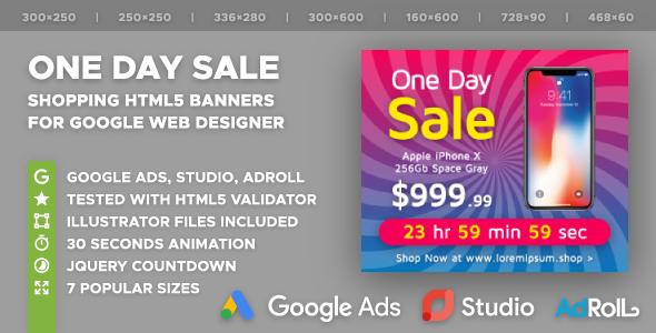 One Day Sale - Shopping HTML5 Banner Ad Templates (GWD) - CodeCanyon Item for Sale