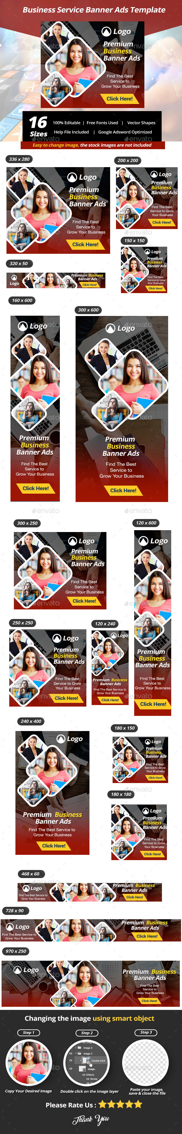 Business Service Banner Ads Template - Banners & Ads Web Elements