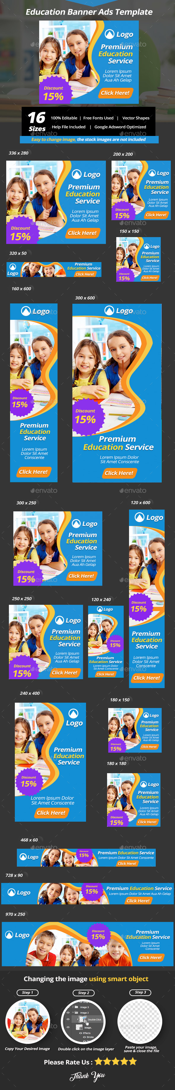 Education Banner Ads Template - Banners & Ads Web Elements
