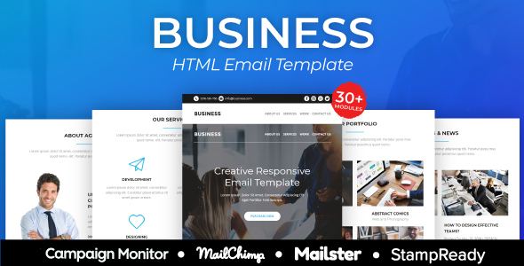 Business - Responsive Email Template 30+ Modules - StampReady Builder + Mailster & Mailchimp