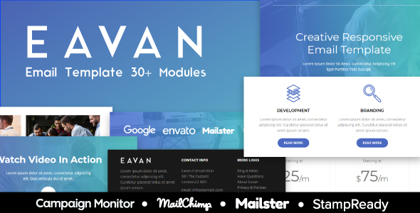 Eavan - Responsive Email Template 30+ Modules - StampReady Builder + Mailster & Mailchimp - Newsletters Email Templates