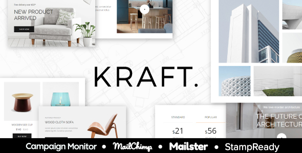 Kraft Email Template For Interior Design And Architecture Stampready Mailster Mailchimp By Themetrida