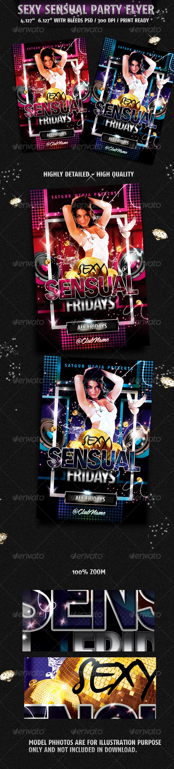 Sensual Music Dance DJ Night Party Flyer  - Flyers Print Templates