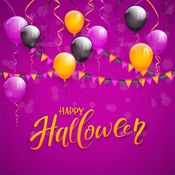 text happy halloween and decoration on purple background by losw