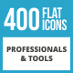 400 Professionals & their Tools Flat Long Shadow Icons