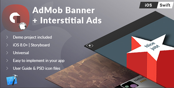 iOS Universal AdMob Banner + Interstital Ads Template (Swift) - CodeCanyon Item for Sale