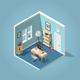 Isometric Home Office Illustration