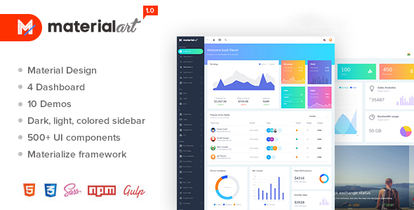 Materialart Powerful Material Admin Template