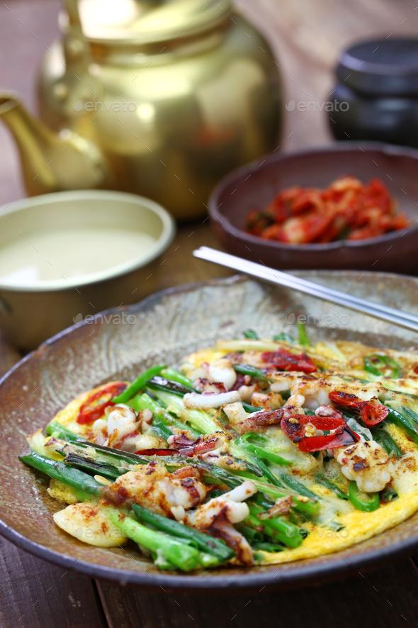 pajeon, korean scallion pancake - Stock Photo - Images