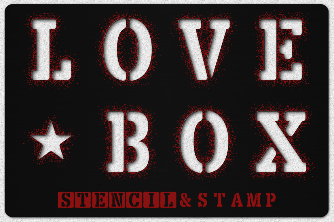 LOVE BOX Stencil & Stam