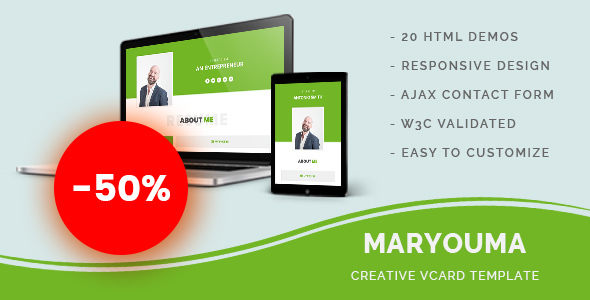 Maryouma - Creative vCard Template - Personal Site Templates