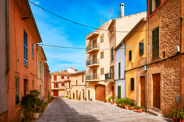 Empty street in Alcudia old town, Spain. - Stock Photo - Images