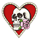 Skull with Rose in a Heart Shaped Hole - GraphicRiver Item for Sale