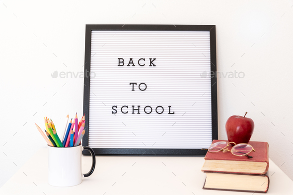 Back to school notice on message board. - Stock Photo - Images