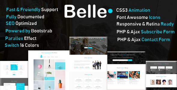 Belle - One Page HTML Template + RTL - Business Corporate