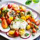 Burrata with Colourful Cherry Tomato and Pesto Salad  - PhotoDune Item for Sale