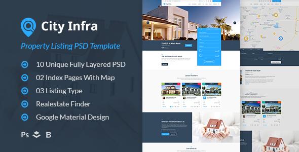 City Infra - Property Listing PSD Template