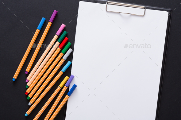 Stationery for drawing, pencils or markers and blank paper - Stock Photo - Images