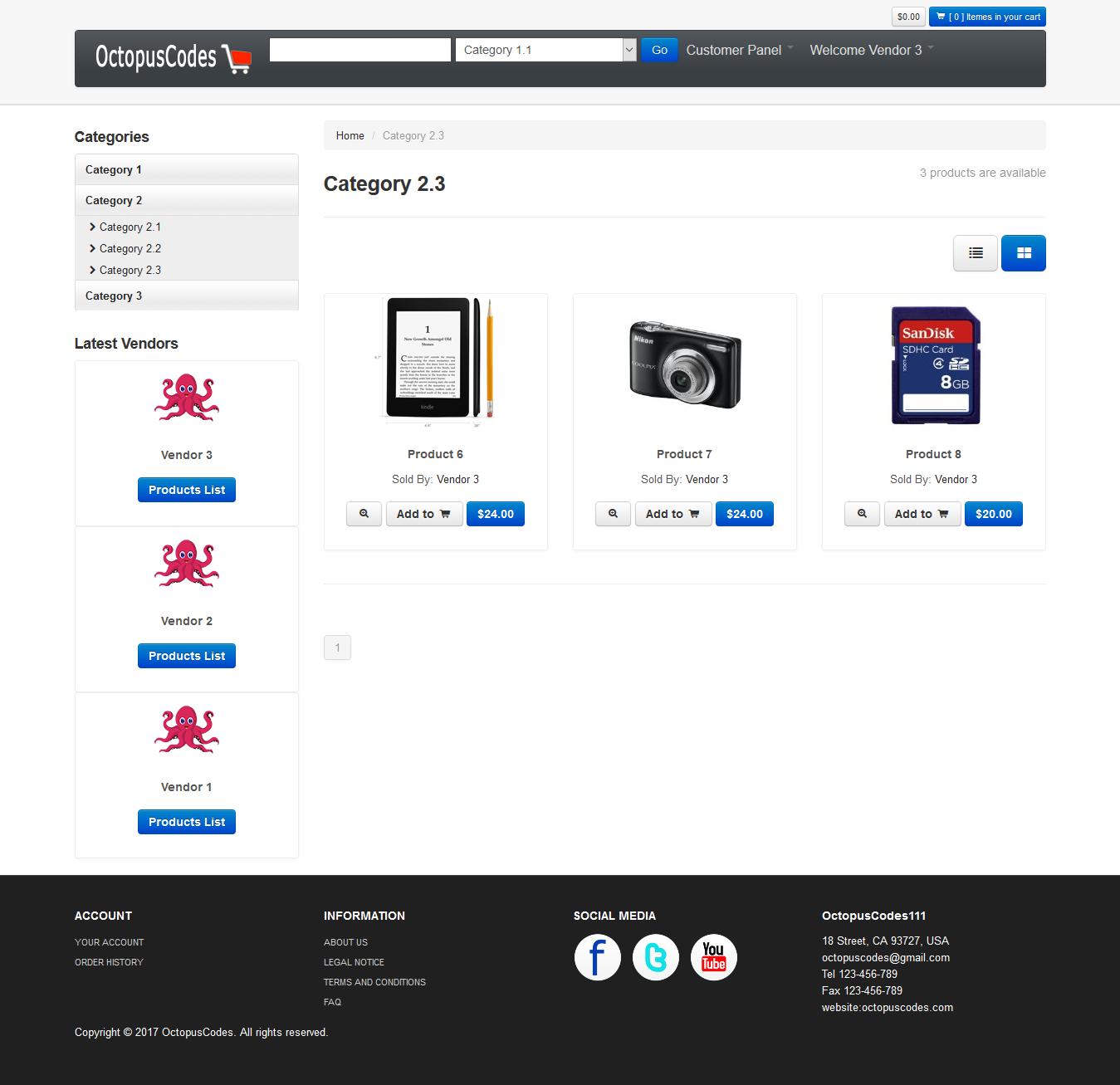 Ecommerce Multi-Vendor Shopping Cart - ASP NET Core MVC and