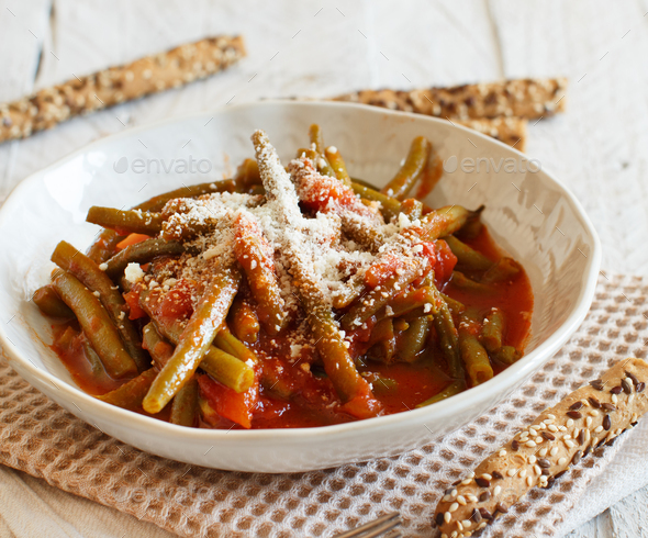 Stewed french bean with tomato - Stock Photo - Images