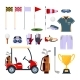 Set of Golf Equipment Icon Logo in Flat Style - GraphicRiver Item for Sale