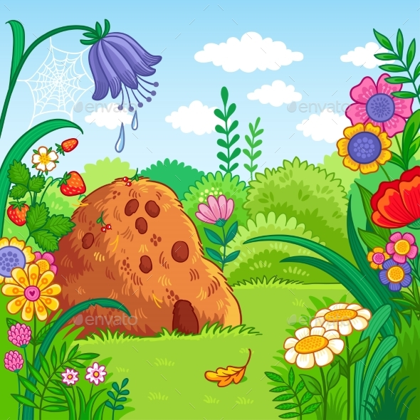 Vector Illustration with an Anthill and Plants - Animals Characters